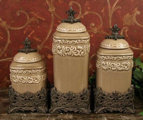 tuscan design medium taupe canister s 3 new ebay