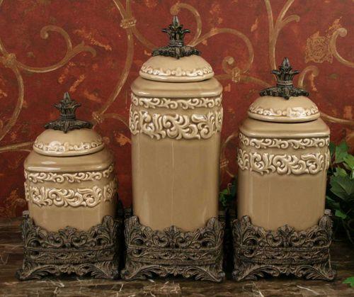 tuscan drake design medium taupe canister s 3 new ebay drake design large tuscan fleur de lis black onyx