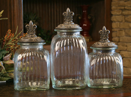 Clear Fleur De Lis Glass Canisters Canister Set 3 Drake