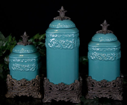 Tuscan Drake Design Medium Turquoise Canister S 3 New Ebay