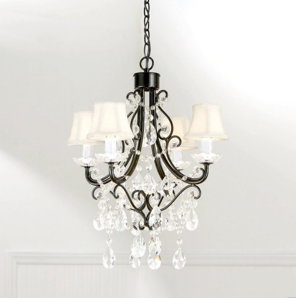Shabby French Country Chic Black 4 Arm Plug In Chandelier