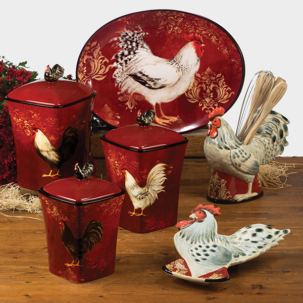 Cheap Kitchen Decor Sets: Avignon Rooster 8 PC Kitchen Utensil Set W/ Holder