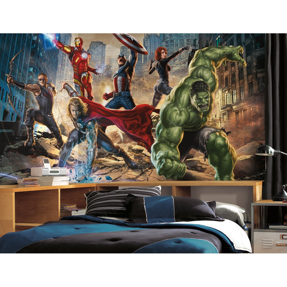 Boys wall murals spiderman batman avengers cars superman for Avengers wallpaper mural