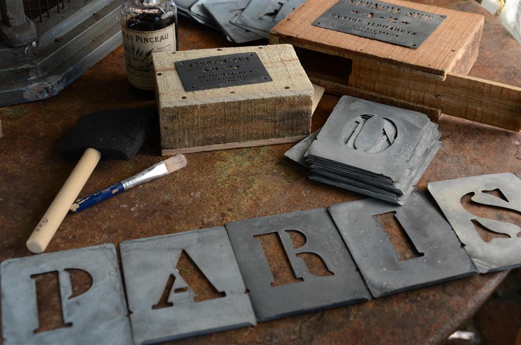 Vintage inspired set antique french zinc stencil letters for Metal stencil set letters