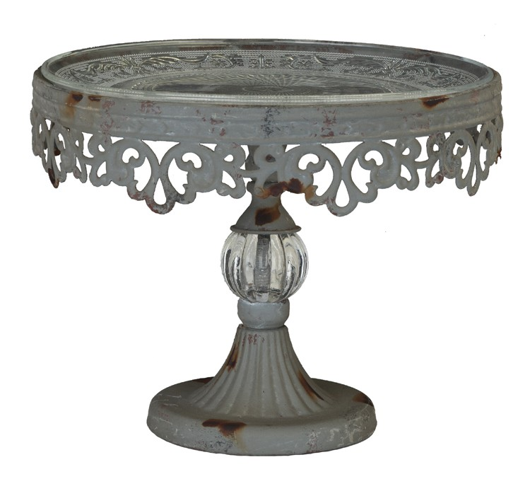 pedestal cake stand metal filigree with glass dessert plate vintage style ebay. Black Bedroom Furniture Sets. Home Design Ideas