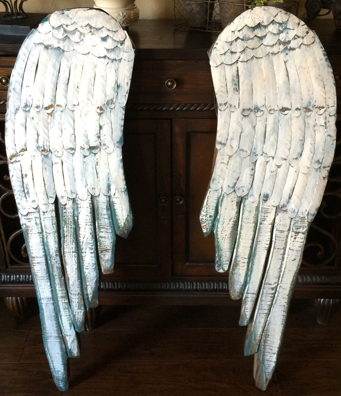 Large wood angel wings distressed wood wall decor shabby for Angel wings wall decoration uk