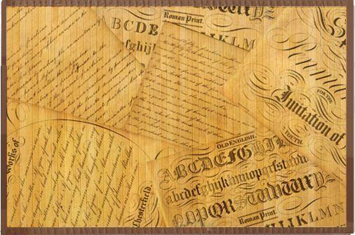 Bamboo Wood Floor Mat Scatter Script Print Rug 3x5