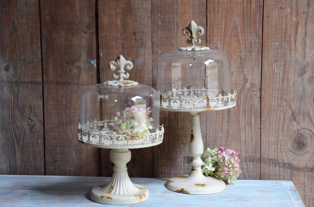 fleur de lis four cloche shabby chic cake wedding decor ebay. Black Bedroom Furniture Sets. Home Design Ideas