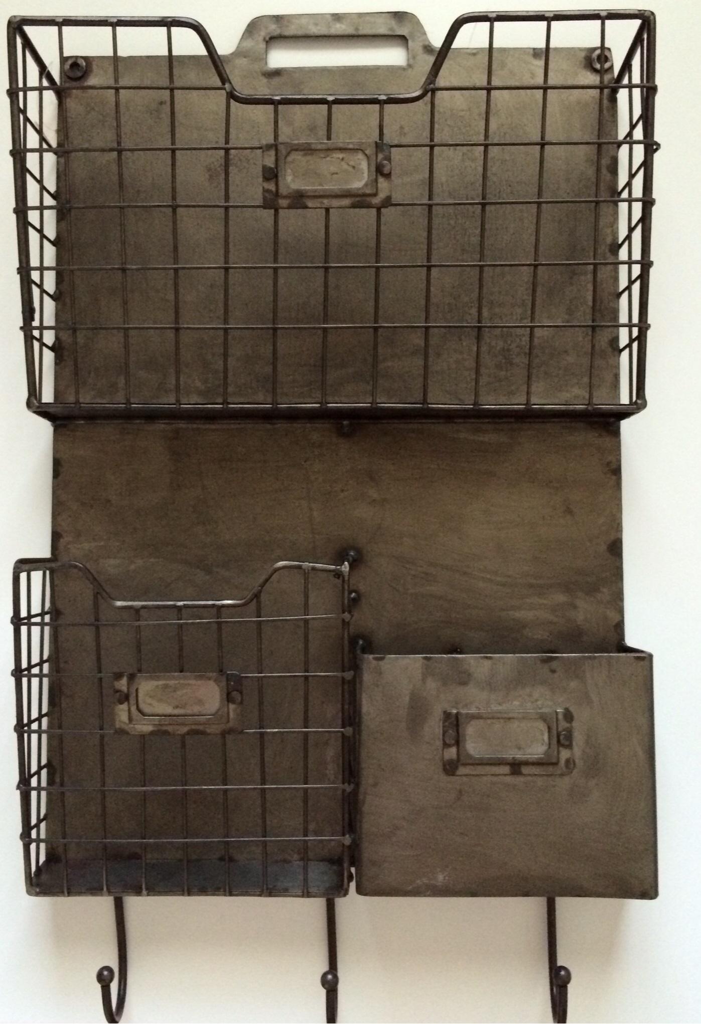 Vintage Style Metal Triple Wall Pocket Organizer File